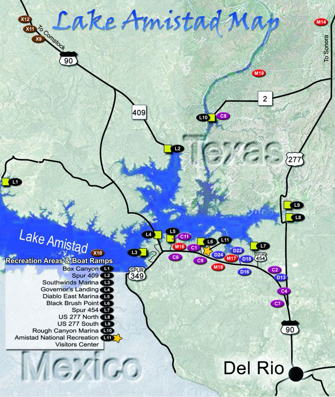 Lake Amistad Map